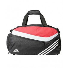 Adidas Black and Red Polyester Duffle Bag