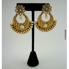 Gold Plated White Stone Earrings
