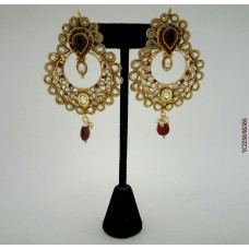 Gold Plated Red Stone Alloy Earrings