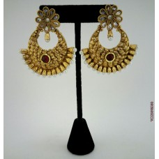 Gold Plated Red Stone Earrings