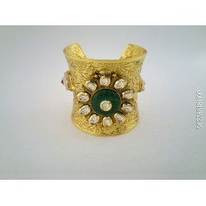 Gold Plated White Stone Kada