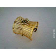 Gold Plated Green Stone Kada