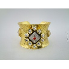Gold Plated Red Stone Kada