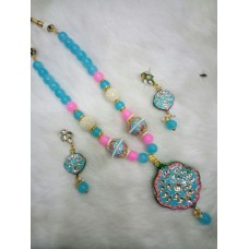 Blue Pink Alloy Necklace