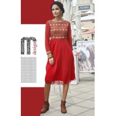 Party, Festive, Designer, Embroidered Georgette Solid Women's Kurti Red