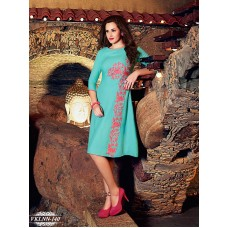 Fiona : Party, Festive Self Design, Embroidered Georgette Solid Women's Kurti Turquoise