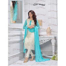 Designer Suit with Dupatta (White-Aqua)